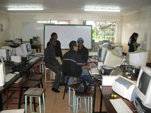 WCE and KSPS volunteers working hard in a Nyeri District secondary school
