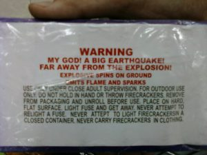 Warning Label on Fireworks