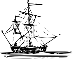 black and white image of a sailing boat