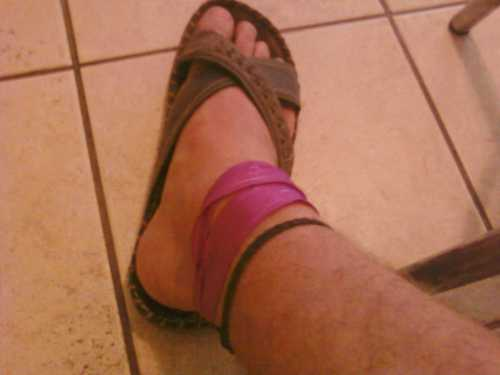 pretty pink ribbon around my right ankle